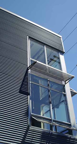 Leed certification using perforated metal sunshades and for Metal sun shade structures
